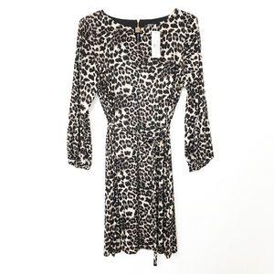 New MSK 2x Leopard Print Belted Long Sleeve Dress